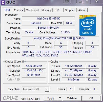 [DOSSIER] Overclocking d'un Intel core i5 4670K - 3° partie CPUZ-i5-4670k-4-3ghz