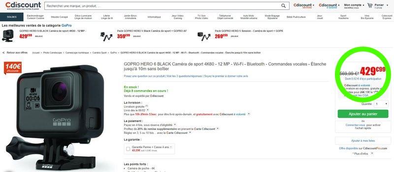 Annexe 2 : le prix de la GoPro Hero 6 en chute libre Prix%20gopro%20hero%206-800