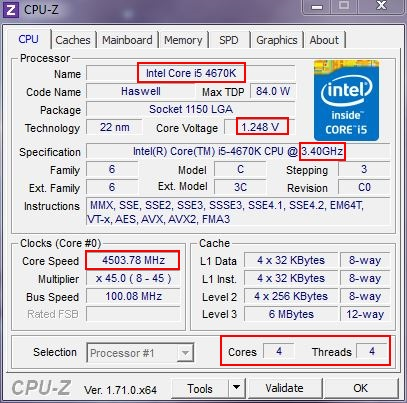 """Mon PC"" 2014 Cpu-z-i5-4670k-4-5ghz"