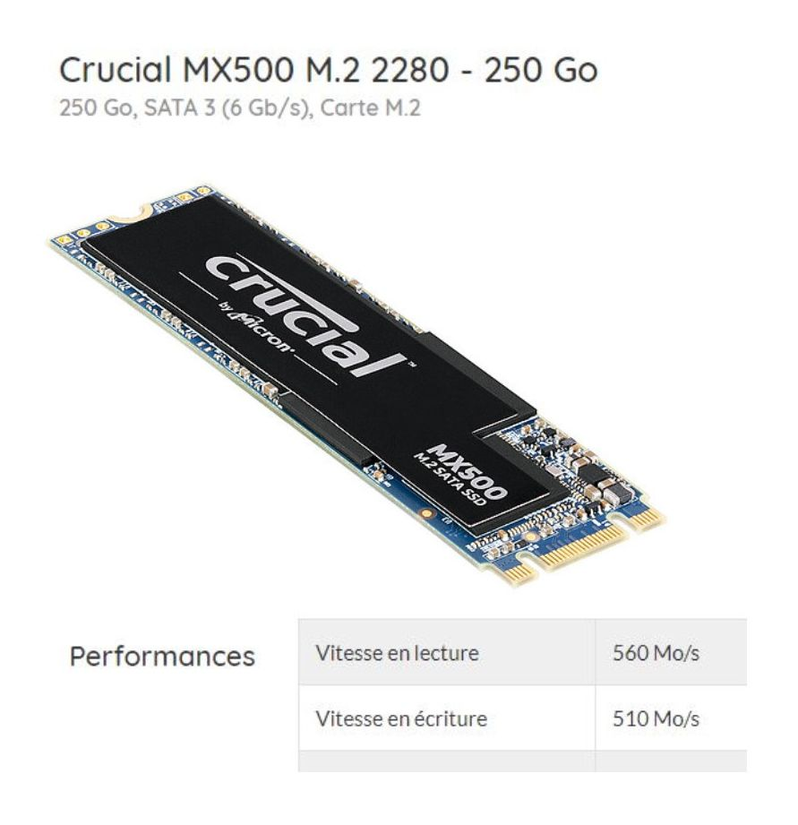 [DOSSIER] Disque SSD, PCI-E NVMe : performances augmentées et baisse de prix Crucial%20MX500%20M.2%202280%20-%20250%20Go