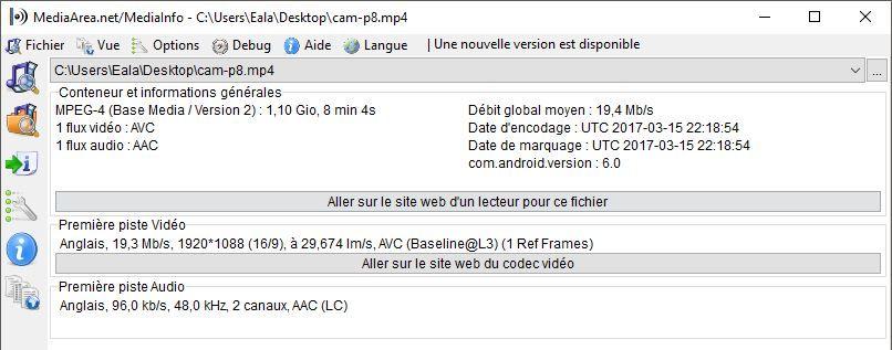 Comparatifs vidéos Full HD Caracs-cam-p8-mi