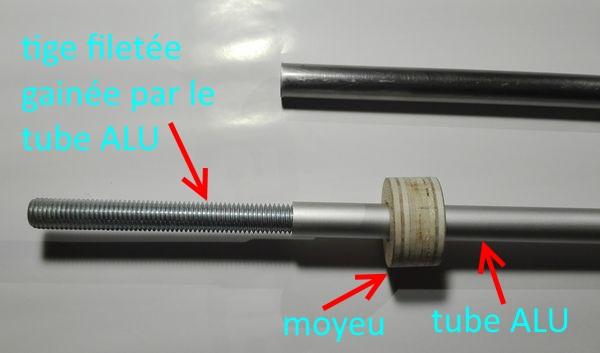 10 - Axe de roulement amélioré et allégé Tube-alu-moyeu